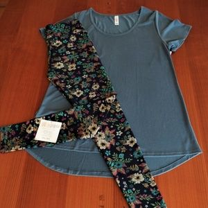 LULAROE OUTFIT! M- CLASSIC-T TOP with OS- LEGGINGS